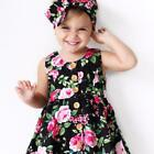 Baby Girl Clothes Flower Printing With Bow-knot Headband Sleeveless Baby Dresses