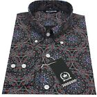 Relco Mens Black Abstract Geometric Long Sleeved Button Down Vintage Shirt Mod