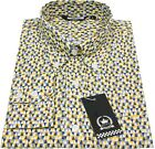 Relco Mens Yellow Abstract Geometric Long Sleeved Button Down Vintage Shirt Mod