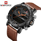 Mens Watches To Luxury Men Leather Sports Watches NAVIFORCE Men's Quartz LED Dig