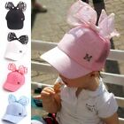 Spring Summer Children Baseball Cap Girls Rabbit Ear Pearl Big Bow Kids Sun Hat