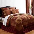 NINEPATCH STAR Hand Quilted Country Burgundy(QUEEN)) QUILT**CHOOSE ACCESSORIES* image