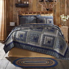 Farmhouse Country Patchwork COLUMBUS (QUEEN) QUILT,Shams,Skirt LOG CABIN BLUE  image