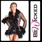 Kimono corto Nero trasparente Feather Trim Be Wicked Sexy Lingerie Donna Toys