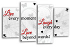 LOVE QUOTE ART PICTURE RED POWDER GREY HOME CANVAS WALL SPLIT PANEL 44""
