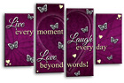 """LOVE QUOTE ART PICTURE RED POWDER GREY HOME CANVAS WALL SPLIT PANEL 44"""""""