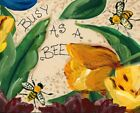 Busy As A Bee Summer Yellow Crimson Red Flowers Folk Art Inspirational Art