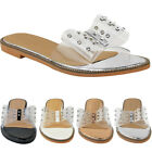 Womens Ladies Flat Diamante Perspex Clear Sandals Open Toe Jelly Summer Smart UK
