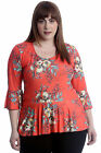 New Womens Plus Size Top Ladies Floral Frill Blouse Peplum Style Tunic Summer