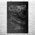 AK-47 Rifle Poster Print Gunsmith Gift Gun Club Art AK47 Blueprint Soldier Gift