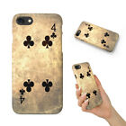FOUR 4 OF CLUBS DECK CARDS HARD PHONE CASE COVER FOR APPLE IPHONE