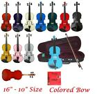 New Viola Colored Bow Case Rosin Extra Set of Strings - Student Beginner School