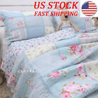 Shabby Chic Cottage Floral Blue Patchwork Cotton Quilt Coverlet Bedspread QUEEN image