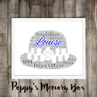 Police Policewoman Female Retirement Leaving Personalised Word Art Gift Print