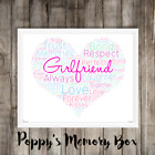 Girlfriend Personalised Word Art Birthday Love Christmas Gift Print ANY COLOURS