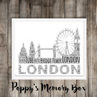London Personalised Word Art Birthday Travel Engagement Xmas Gift Print or Card