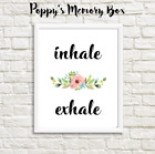 Inhale Exhale Anxiety Depression Positive Typography Word Art Print or Card Gift