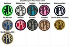 Embroidered Circle Font Name Initial Monogram Sew-On Patch - 30 Fabrics 4 Sizes