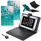 "US Blue Ocean Micro USB Wired Keyboard Folio Leather Case For 10"" 10.1"" Tablet"