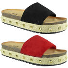 Womens Ladies Comfy Studded Slip On New Sliders Flats Shoes Slides Wedges Size