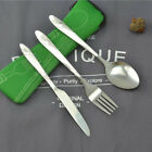 3 Piece Stainless Steel Reusable Utensils To Go (Knife, Fork, Spoon) Lunch+Case