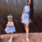 Summer Mother&Daughter Matching Stripe Dress Women Kid Girl Family Dress Clothes