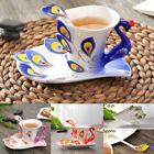 Colorful Peacock Pattern Porcelain Coffee/ Tea Cup Set with Dish Spoon Gift