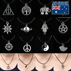 12 Style New Silver Pendant Necklace Choker Charm With Black Leather Cord