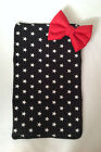 BABY TRAVEL CHANGING MAT BLACK WHITE STARS  COTTON WATER PROOF RED PADDED BOW