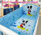 Disney mickey mouse crib sheet baby bedding cot set 6pcs/7pcs Nursery infant