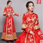 Womens Retro Chinese Embroidery Prom Toast Skirts Tops Bride Wedding Dress Hot