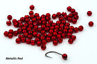 25 Tungsten Slotted Fly Tying Beads / Metallic Red - Various Sizes