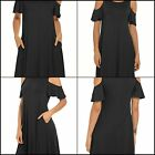 QIXING Women's Summer Cold Shoulder Tunic Top Swing T-Shirt Loose Dress With