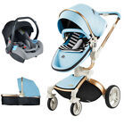 Baby stroller 3 in 1 high view Travel pram Foldable pushchair&car seat leather