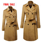 guinea pig coats for sale - [FINAL SALE]Doublju Womens Long Sleeve Slim Fit Double Buttoned Trench Coat