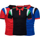 Men's Slim Fit POLO Shirts Solid Short Sleeve Casual Golf T-shirt Tee Tops AU