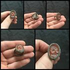 Rare Ancient Bronze Roman Glass Intaglio Headed Ring With Impressions.