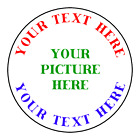 Personalized YOUR PICTURE YOUR TEXT Stickers Labels Tags VARIETY OF SIZES