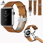Leder Armband Faltschließe Single Tour Für Apple Watch Series 4/3/2/1 40/44mm
