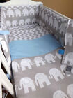 CRIB OR COT OR COT BEDDING SET , GREY ELEPHANT ZIG-ZAG 100%COTTON made to order