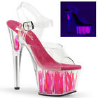 Pleaser Adore 708 Flame Hot Pink Neon Pole Shoes Clear Ankle Straps and Vamp