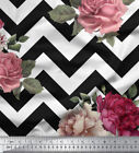 Soimoi Chevron Floral Printed 58 Inches Wide Sewing Cotton Fabric By the Metre