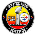 Pittsburgh Steelers Super Bowl Championship Sticker, NFL Decal 8 Differen Sizes