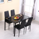 Glossy White Dining Table 4 6 Chairs Kitchen Set Wood / Tempered Toughened Glass