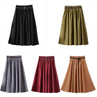 Vintage New Women High Waist Swing A Line Pleated Faux Suede Skater Midi Skirt