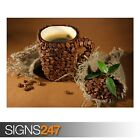 CUP OF COFFEE BEANS LEAVES (AE543) - Photo Picture Poster Print Art A0 to A4