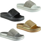 Womens Ladies Summer Bling Studded Sliders Flats Shoes Slip Ons Slippers Size