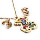 316l Stainless Steel Colored Hollow Fashion Bear Necklace Pendant Earrings Set