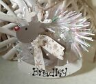 Personalised Reindeer Christmas Tree Decoration Baby 1st Xmas Natural 2 sizes