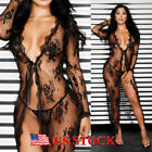 Womens Sexy Lace See Through Long Tops Cover Up Lingerie Nightwear Kaftan Dress
